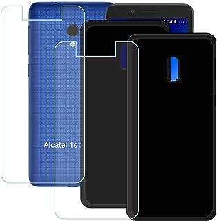 YZKJ [2 stycken fodral för Alcatel 1C 2019 skydd svart mjuk silikon skyddande TPU-skal skal 2 x pansarglas displayskyddsfo...