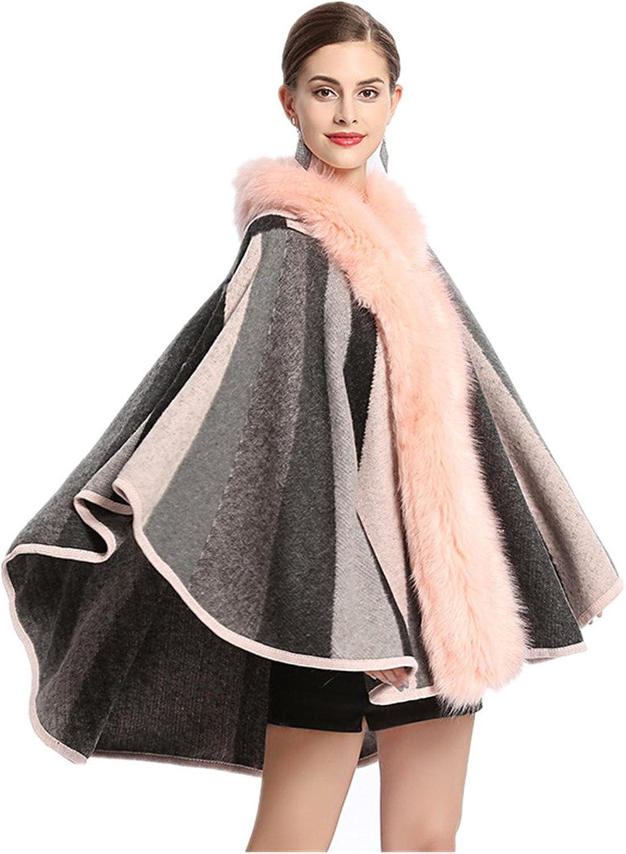 Women Shawl Wraps Cloak Coat Ladies Faux Fox Fur Sun Collar Hooded Knit Cardigan Jacket