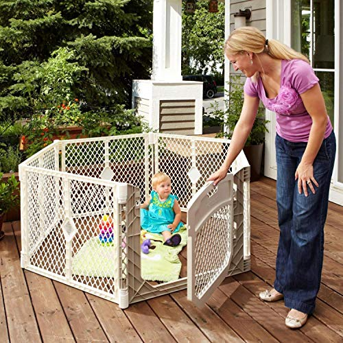 Toddleroo by North States Superyard Classic 6-Panel Play Yard: Safe Play Area Anywhere - Folds up with Carrying Strap for Easy Travel. Freestanding. 18.5 sq. ft. Enclosure (26' Tall, Ivory)