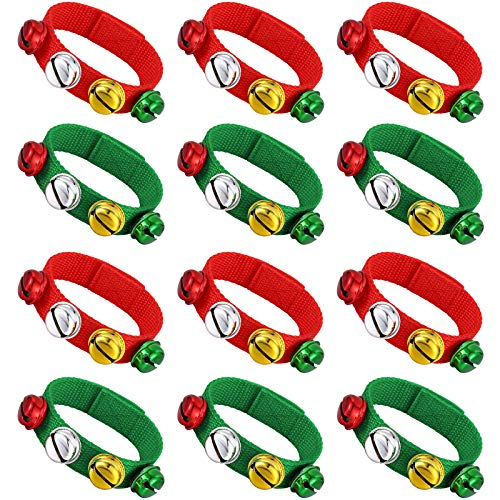 Skylety 12 Pieces Christmas Band Wrist Ankle Bells Bracelets Musical Jingle Ankle Bells Rhythm Instrument Percussion Party Present Favors
