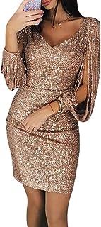 LUOEM GCID Vestito Aderente da Donna Vestito da Discoteca con Scollo a V con Scollo a V e Minigonna Abito da Cocktail Comp...