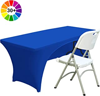 ABCCANOPY 30+ Colors Spandex Table Cover 6 ft. Fitted Polyester Tablecloth Stretch Spandex Tablecover-Table Toppers(Open Back Royal Blue)
