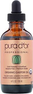 PURA D'OR Organic Castor Oil (4oz) 100% Pure Natural USDA Organic: Conceal Thin, Reveal Fuller Eyebrows, Thicker Eyelashes...