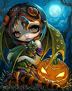 """""""Halloween Dragonling"""" SIGNED Glossy Photo Art Print by Jasmine Becket-Griffith"""