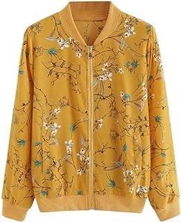 iYYVV Women Fashion Floral Printed Jacket Zipper Chiffon Bomber Outwear Trendy Coat