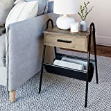 Nathan James 32502 Hugo Nightstand Accent Rustic Wood Table with Drawer, Gray/Black