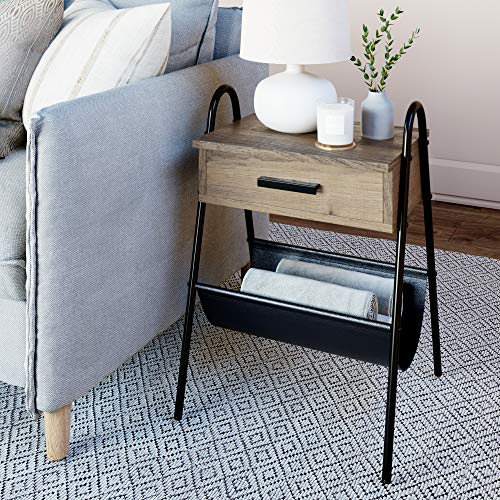 Nathan James Hugo Wood Nightstand, Rustic Accent End or Side Table with Drawer, Durable Black Metal Frame & Leather Hammock, Gray