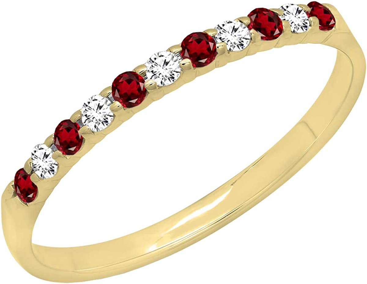 Dazzlingrock Collection 14K Gold Round Garnet & White Diamond Ladies Anniversary Wedding Ring Stackable Band