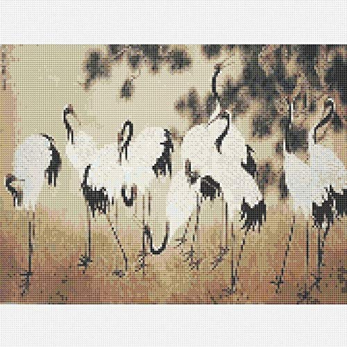 DIY 5D Diamond Painting Kit,Cross Embroidery Stitch Arts Craft Supply for Home Wall Decor A Group Of Cranes 15.7x11.8 in By Bemaystar