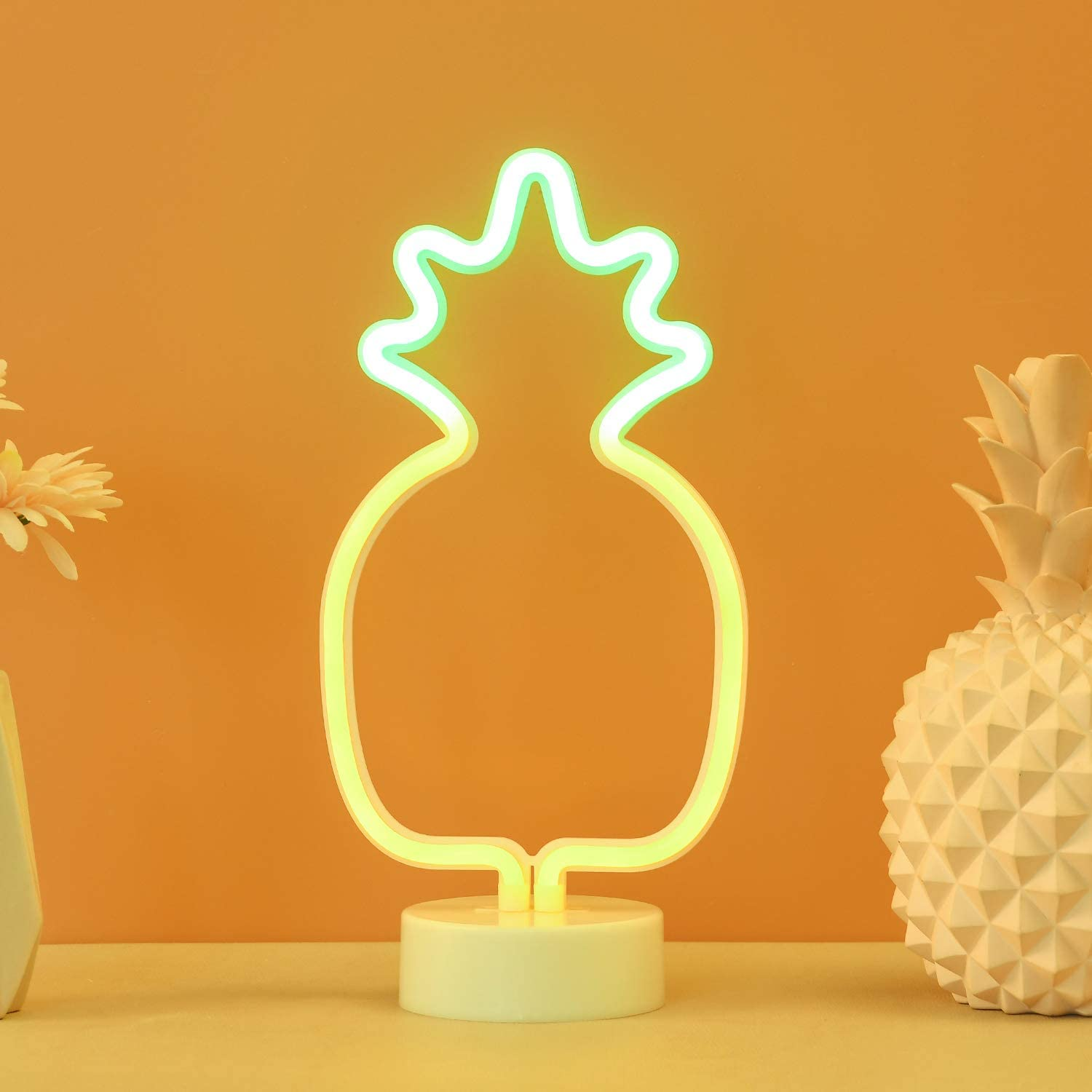 Pineapple Neon Light Sign - LED Pineapple Neon Decorative Lights with Stand Base Battery Powered/USB - Deco of Children's Room, Bedroom, Living Room, Party Wedding and Christmas