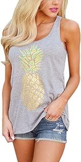 Women's Fashion Casual Pineapple Printed Sleeveless Tank Top T Shirt