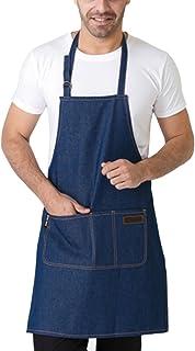 46d0a387a3d Feoya Denim Delantal con Bolsillos Mandil de Trabajo para Hombre Mujer Chef  Cocinero Carameros Color Azul