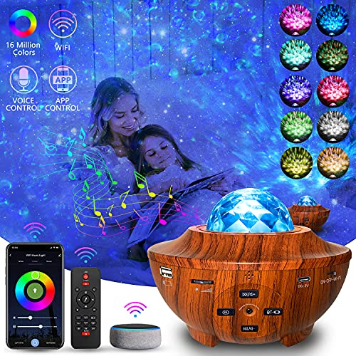 Aliex WiFi Proyector Estrellas Alexa Google Home LED Lampara Estrellas con Bluetooth/Música/Remoto/Temporizador Proyector de Techo, Regalo de Decoración de Habitación Infantil de Recuerdo (WIF