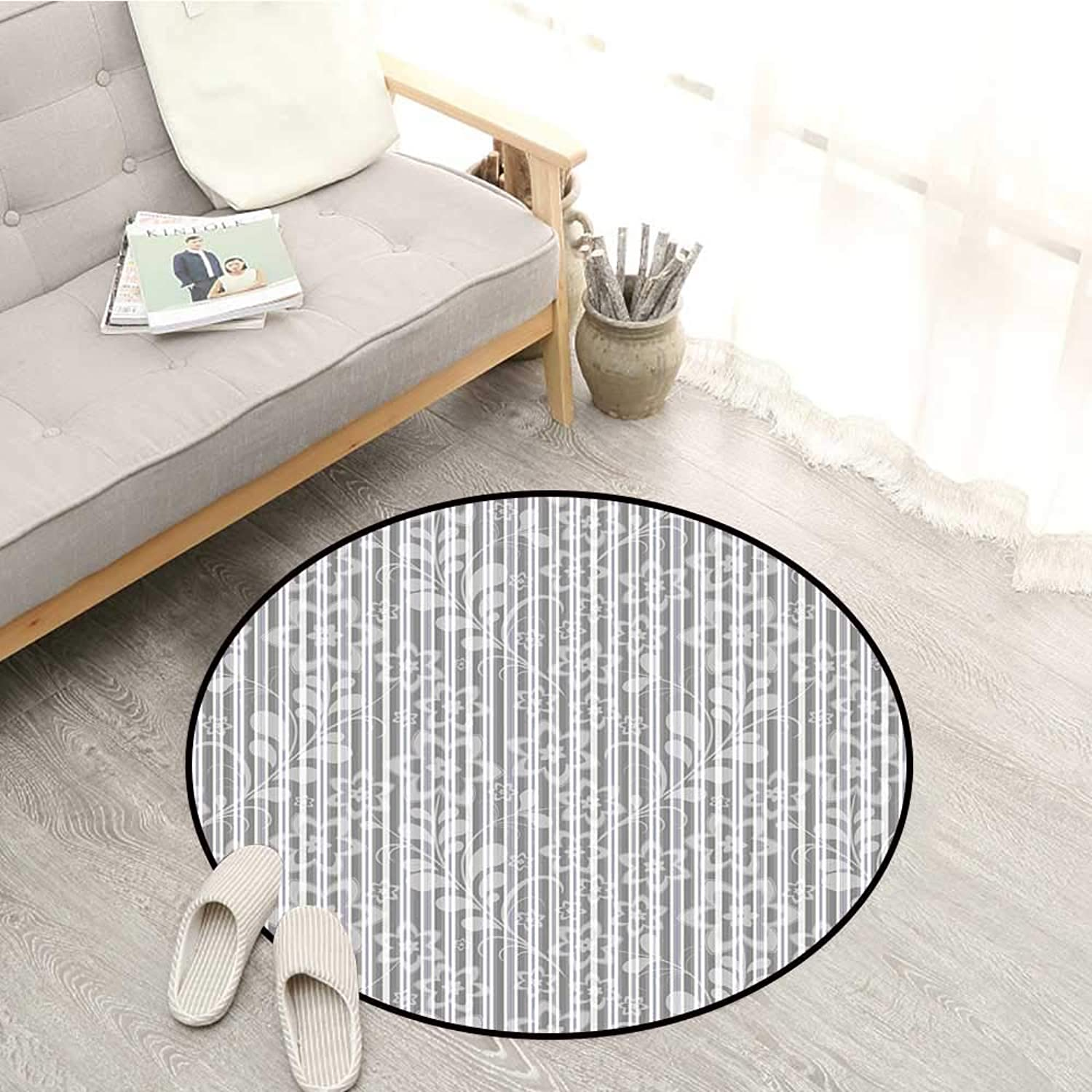 Grey and White Skid-Resistant Rugs Floral Elegance Petals Branches Leaves Faded Toned Abstract Blooms Artsy Pattern Sofa Coffee Table Mat 4'3  Grey