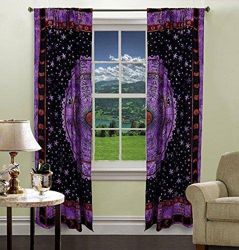 Purple Color Zodiac Astrology Tapestry Curtain Home Decor Room Darkening Window Treatments & Valance Balcony Sheer Room Divider Bedroom Decor Handmade Wall Hanging Window Curtains Boho Panels