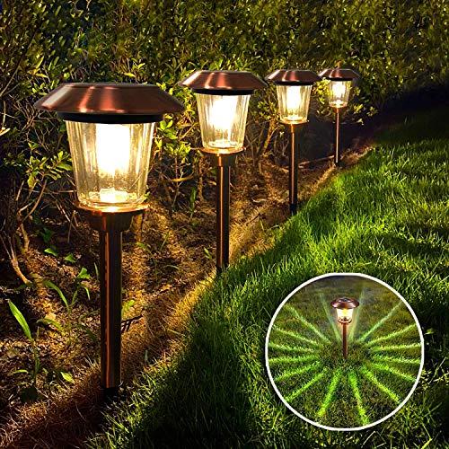 FLOWood Solar Gartenleuchte Solarlampe für Garten Außen Solarleuchte für Garten Solarleuchte für Außen 2 Modi mit Erdspieß Glas + Edelstahl IP65 wasserdicht ∅15 x 47 cm 4 Stück