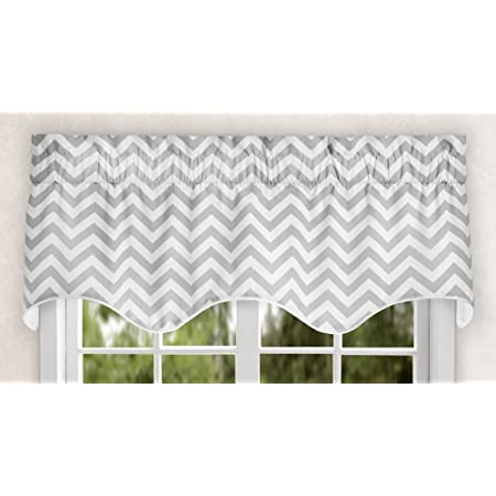 Ellis Curtain Reston Chevron Stripe Lined Scallop Valance 50 X 17 Sterling Home Kitchen