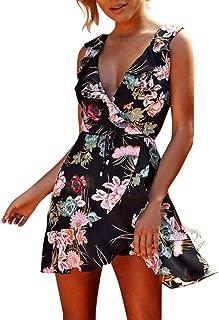 TOTOD Dress, Fashion Women Spaghetti Strap Boho Floral Print Sexy V Neck Beach Skater A Line Minidress