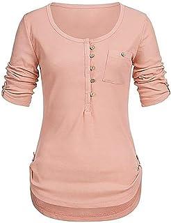 65c622654e8 Teresamoon Women s O Neck Long Sleeve Button Casual Shirt Blouse Tops