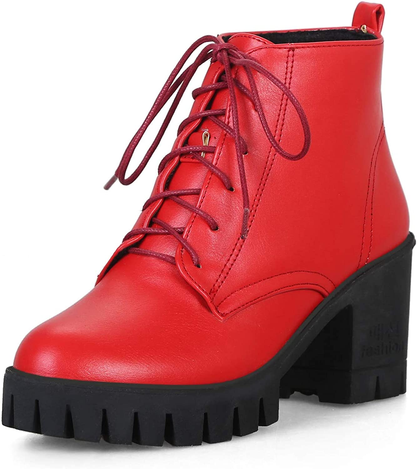 CYBLING Women's Combat Lace Up Boots Motorcycle Thick Platform Chunky Heel Lug Ankle Bootie