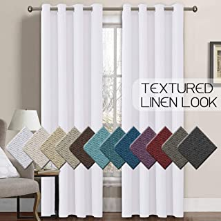 H.VERSAILTEX Linen Curtains Room Darkening Light Blocking Thermal Insulated Heavy Weight Textured Rich Linen Burlap Curtains for Bedroom/Living Room Curtain, 52 by 84 Inch - Pure White (1 Panel)