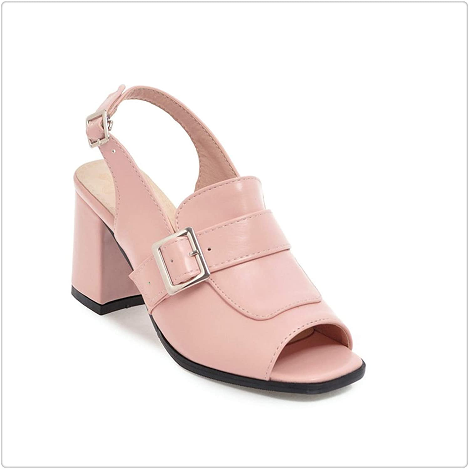 ZXCVB& Woman Fashion squareHigh Heels Sandals Women Summer Open Toe shoes 2019 Womens Female Buckle Slingback Casual Party Sandal Pink 5