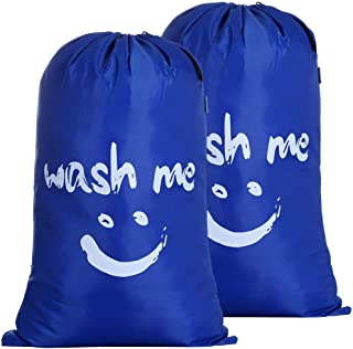 Amazon Brand – Eono 2 Stück Paniers à Linge, Pliable Sac à Linge, Pliage Grande Capacité Corbeilles à Linge (Bleu Saphir)