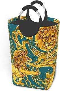 N\A Panier à Linge de Luxe Lion d'or avec poignées Grand Organisateur Pliable Panier à Linge pour Chambre d'enfants vêteme...