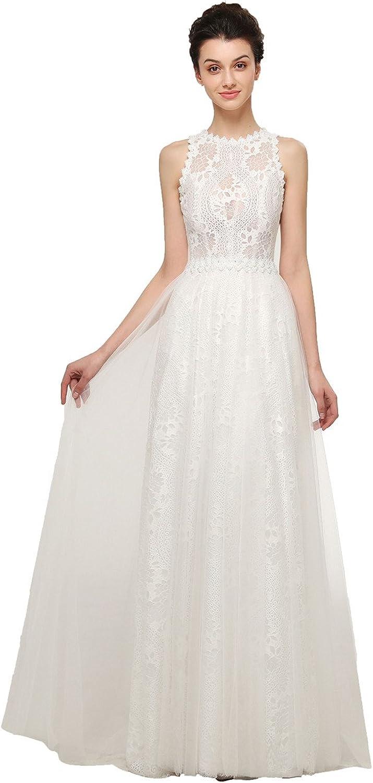 Libaosha Women's A Line Floor Length Lace Wedding Dresses for Bride