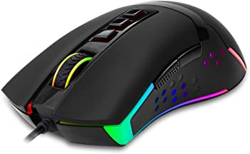 Redragon M712 Wired Gaming Mouse RGB LED Backlit MMO, 9 Button Ambidextrous Macro Programmable Computer Mice, Octopus, 10000 DPI for Windows PC Gamer (Wired RGB Backlit)