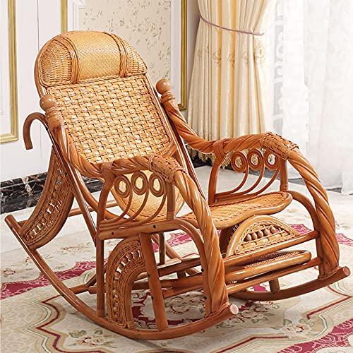 Luxus Wicker Schaukelliege für Erwachsene, Zero Gravity Rustikale Ergonomie Lounge Schaukel, Hautfreundliche Rattan Sonnenliege für Wohnzimmer Balkon