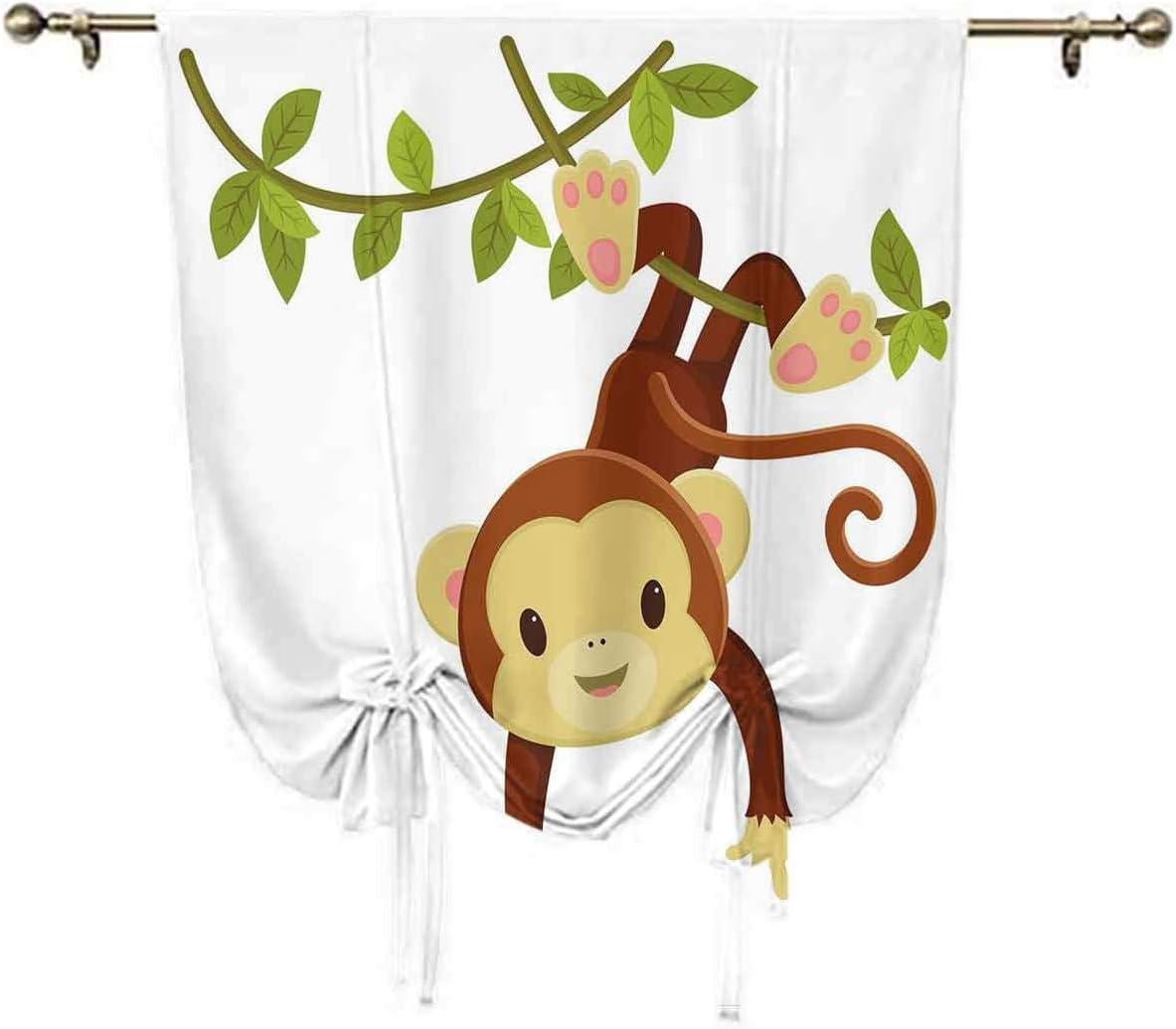Nursery Small Window Curtain,Cute Cartoon Monkey Hanging on Lian