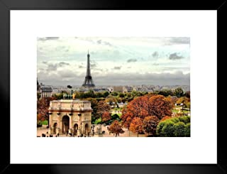Poster Foundry Autumn in Paris France Eiffel Tower Photo Matted Framed Art Print Wall Decor 26x20 inch