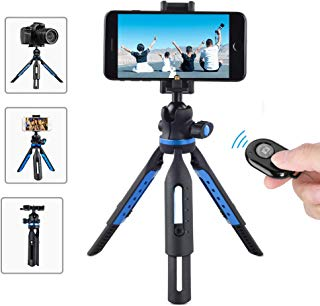 Apexel Camera Tripod, iPhone Tripod with Wireless Remote Shutter, Compatible with iPhone/Android Samsung, DSLR Camera, Sports Camera GoPro