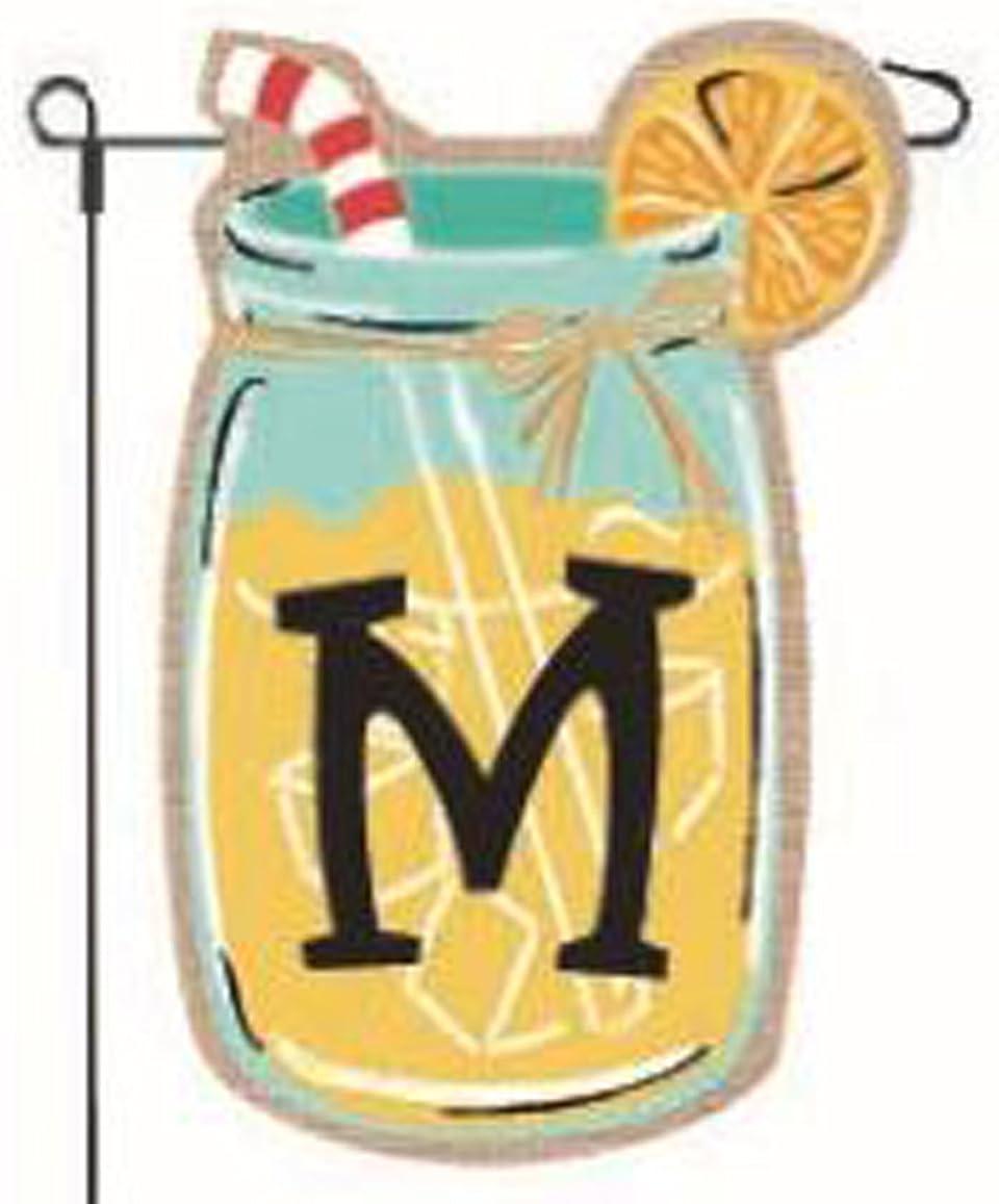 JEC Home Goods Garden Flags Jar Bur Lemonade Max 87% OFF Super-cheap Monogram Mason