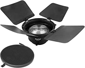 FD-110 Fresnel Mount Light Focusing Adapter with Lights Honeycomb Grids Barn Doors for Bowens Mount LED Video Light for Li...