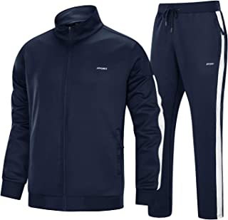 EKLENTSON Men's Tracksuit Set Full Zip Long Sleeve Casual Sports Jogging Sweatsuits with Zipper Pockets