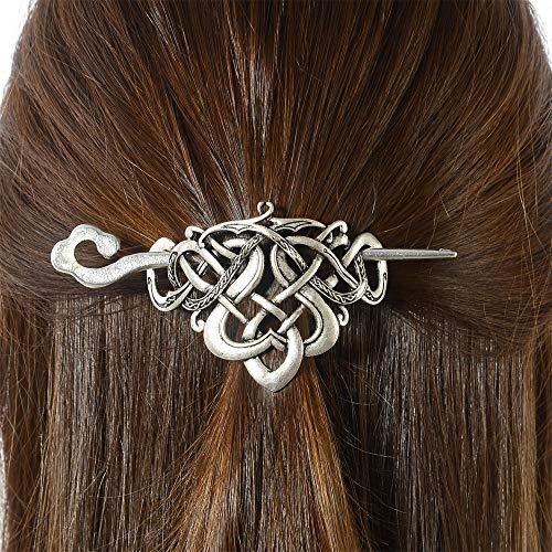 Viking Celtic Hair Clips Hairpin-Viking Hair Sticks Ladies Hair Accessories Triangle Clips for Long Hair Slide Pin Irish Antique Silver Hairstick Celtic Knot Viking Jewelry Hair Clip Men Gift (No.D1)
