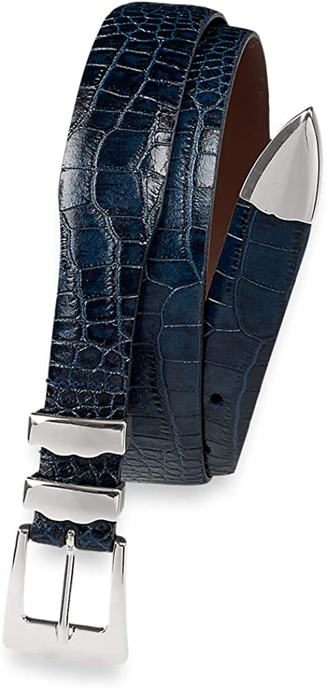 Paul Fredrick Men's Super sale period limited Crocodile 25% OFF Embossed T Belt with Keeper Metal