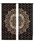 Juego de 2 cortinas para colgar en la pared con mandala, color dorado y negro, para ventana de mandala, 82 cortinas,