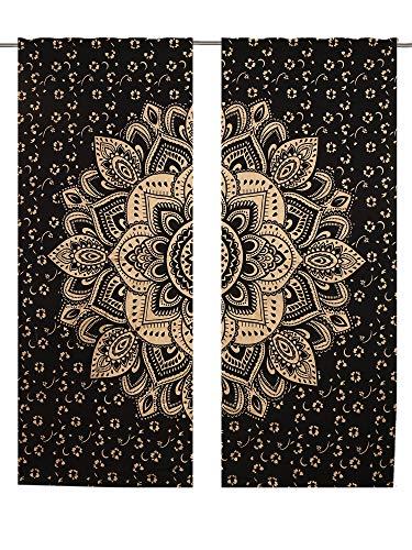 Mandala-Vorhang, Wandbehang, Mandala-Fenstervorhänge, Paneele, 82 Längen, 2 Stück, Tapisserie-Vorhänge, Boho-Vorhänge, Tapisserie-Vorhänge, Mandala-Wandbehang, indische Vorhänge, Mandala-Fenster
