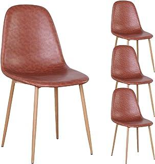 1234 JIASEN - Juego de 4 sillas de comedor con cojín de piel sintética y patas de metal de nogal, diseño moderno, sillas laterales para comedor, cocina y sala de estar (marrón)