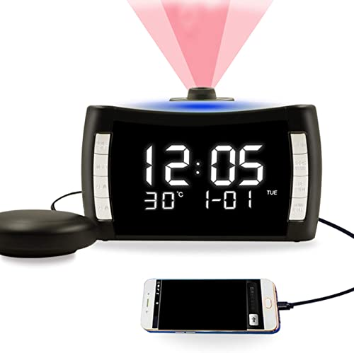 popular Projection Alarm Clock for Bedroom, WANFH Large Display Digital Clock on Ceiling with new arrival Vibration, 2 Loud Alarms with Bed Shaker Snooze,7 Color new arrival Light Temperature, 12/24H, USB Charger & Battery Backup sale