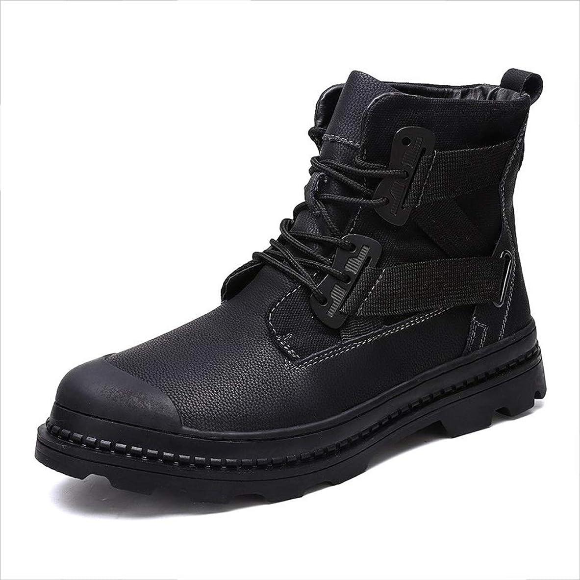精査セクションフォームワークブーツメンズハイキングブーツはレースアップ人工皮革プラスベルベットラウンドヘッド快適な暖かい屋外の耐摩耗性滑り止めを (色 : 黒, サイズ : 28 CM)