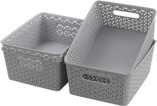 Vababa Gray Plastic Storage Basket, 4-Pack