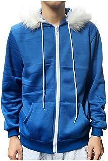 HEFASDM Men's Hood Hoodie With Pockets Fleece Full-Zip Hooded Sweatshirt
