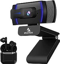 AutoFocus 1080P Webcam with Wireless Earbuds Kits, NexiGo FHD USB Web Camera with Microphone and Privacy Cover, BT 5.1 Hea...