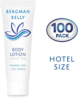 BERGMAN KELLY Travel Size Lotion (1 Fl Oz, 100 PK, White Tea), Delight Your Guests with a Revitalizing and Refreshing Body Lotion, Quality Mini and Small Size Guest Hotel Toiletries in Bulk