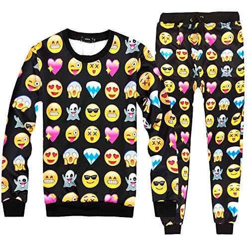 HHKLSF Trainingsanzüge für Herren Trainingshosen und Hoodies für lässige Jogginganzüge für Herren 3D Emoji Print Sweatshirt, Set, 2XL