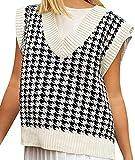 Women V Neck Vest Sleeveless Plaid Loose Knitted Sweaters Sleeveless Jumper Autumn Preppy Style Retro...